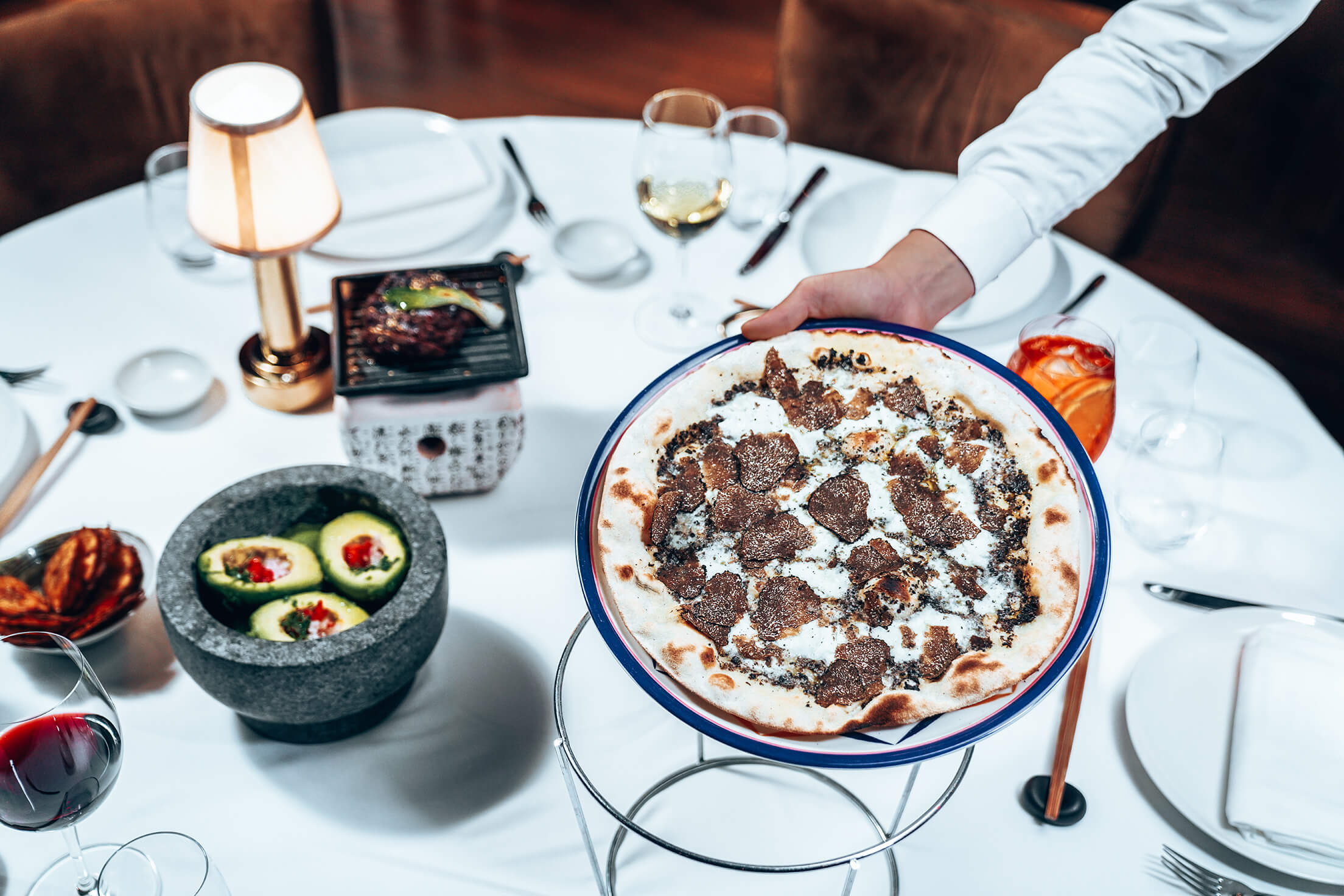 Pizza with truffle served