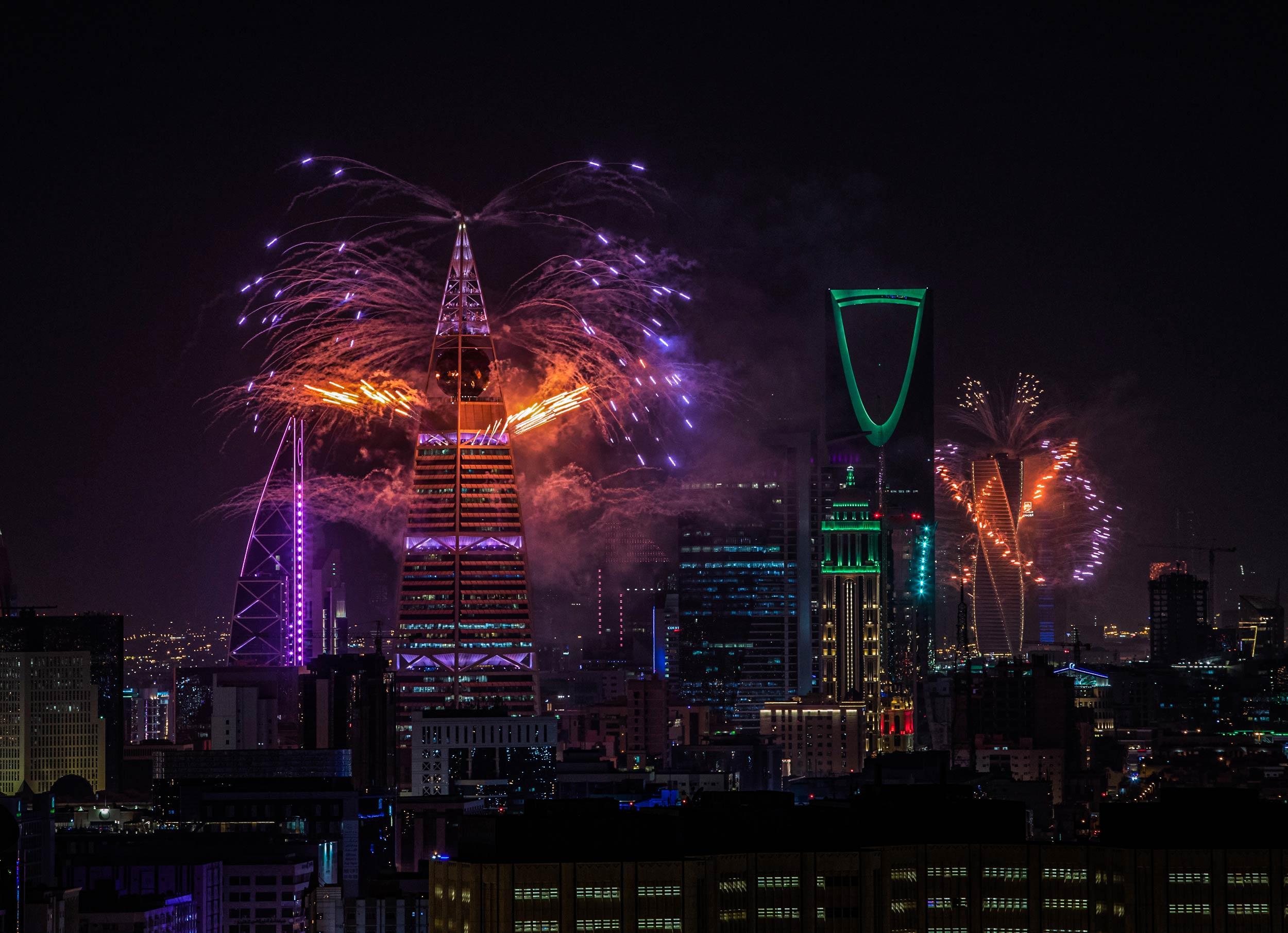 Riyadh night sky with fireworks